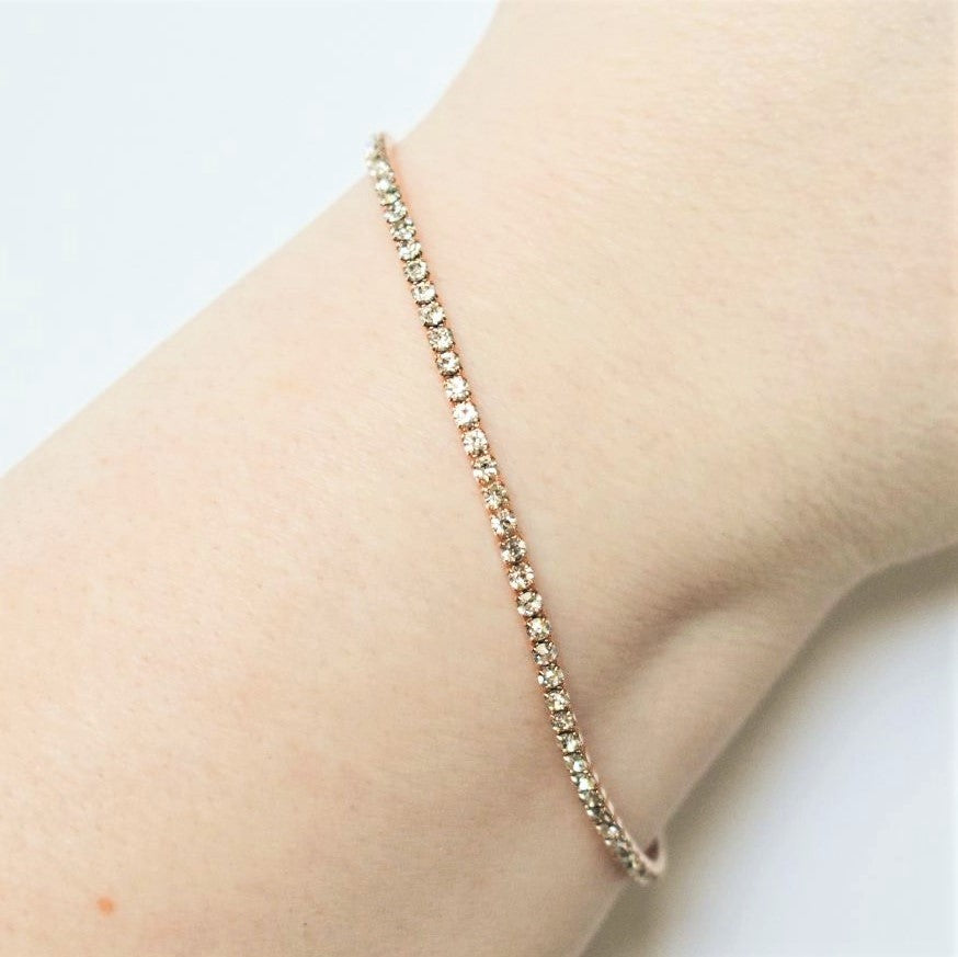 Tennis Bracelet | Clear Austrian Crystals | 14k Rose Gold Plated | 1 Piece