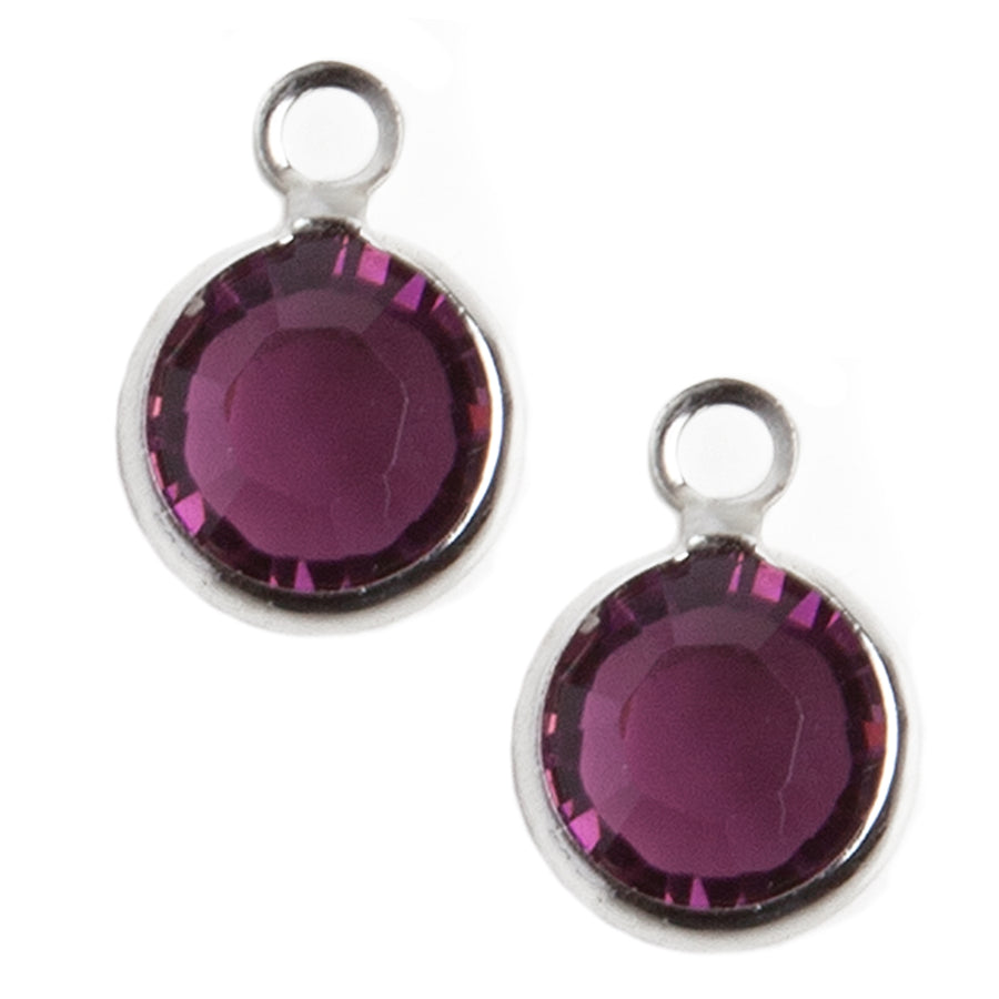 Crystal Charms | Purple Finish | 1 Pair