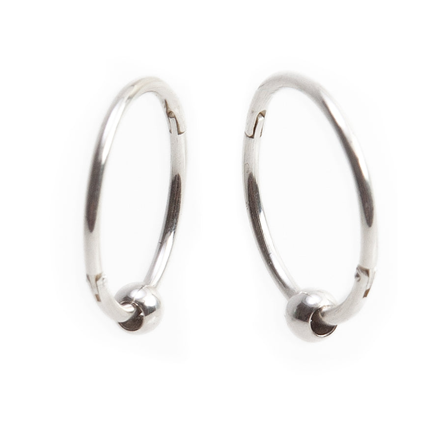 Wholesale | Sterling Silver Earrings | 14mm Hinged Hoops with 3mm Beads | 1 Pair