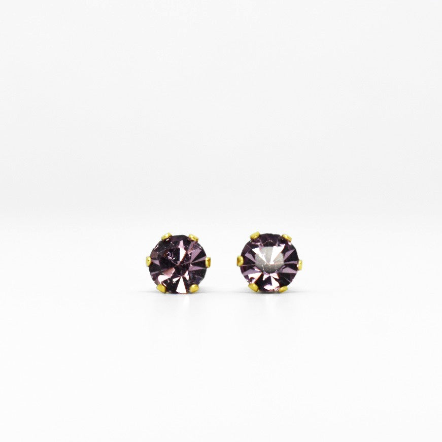 Wholesale | Cubic Zirconia June Birthstone Earrings | 5mm Round | Alexandrite | 22k Gold Plated Stainless Steel Posts | 1 Pair