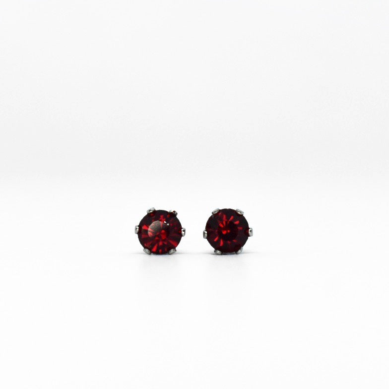 Wholesale | Cubic Zirconia July Birthstone Earrings | 4mm Round | Ruby | Stainless Steel Posts | 1 Pair