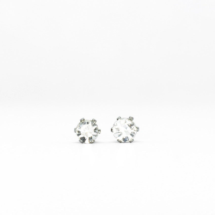 Wholesale | Cubic Zirconia April Birthstone Earrings | 4mm Clear Round | Stainless Steel Posts | 1 Pair