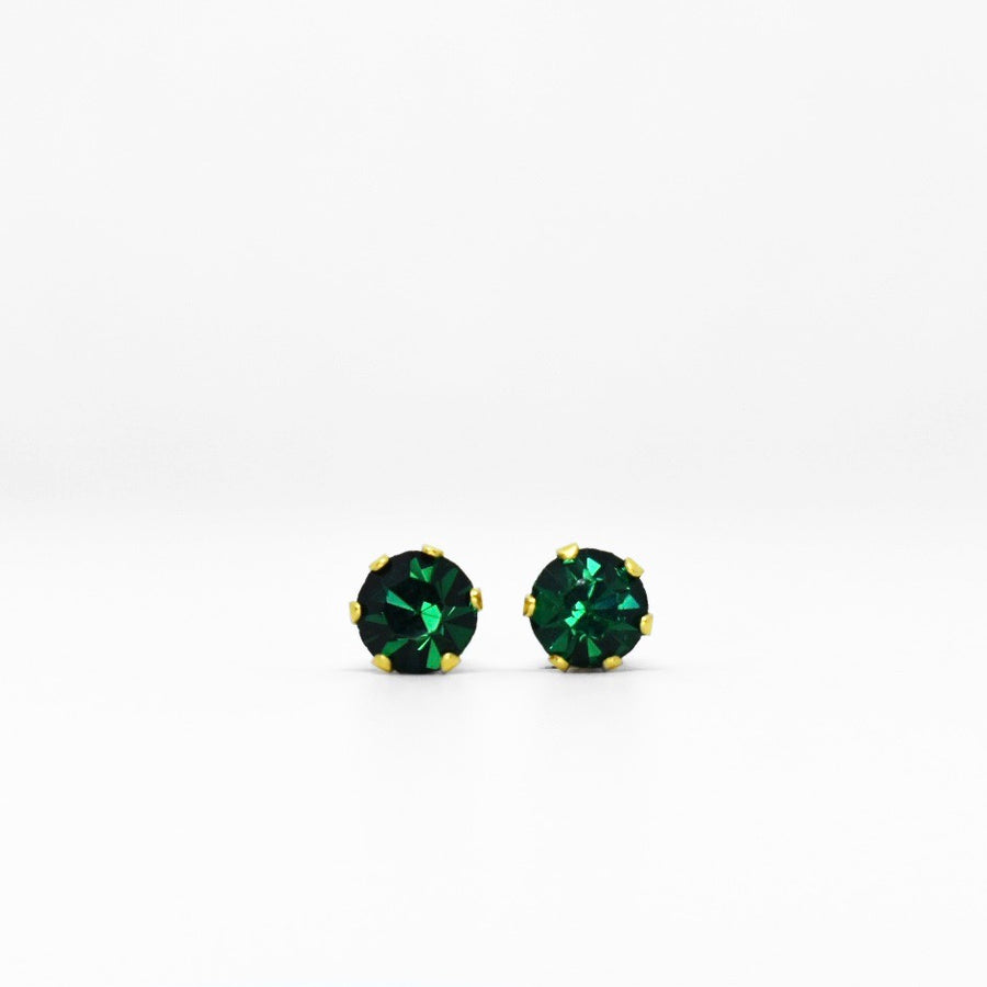 Wholesale | Cubic Zirconia May Birthstone Earrings | 4mm Round | Emerald | 22k Gold Plated Stainless Steel Posts | 1 Pair