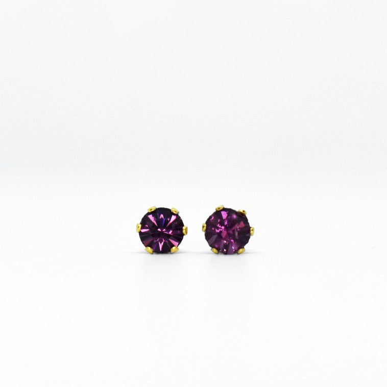 Wholesale | Cubic Zirconia February Birthstone Earrings | 4mm Round | Purple Amethyst | 22k Gold Plated Stainless Steel Posts | 1 Pair