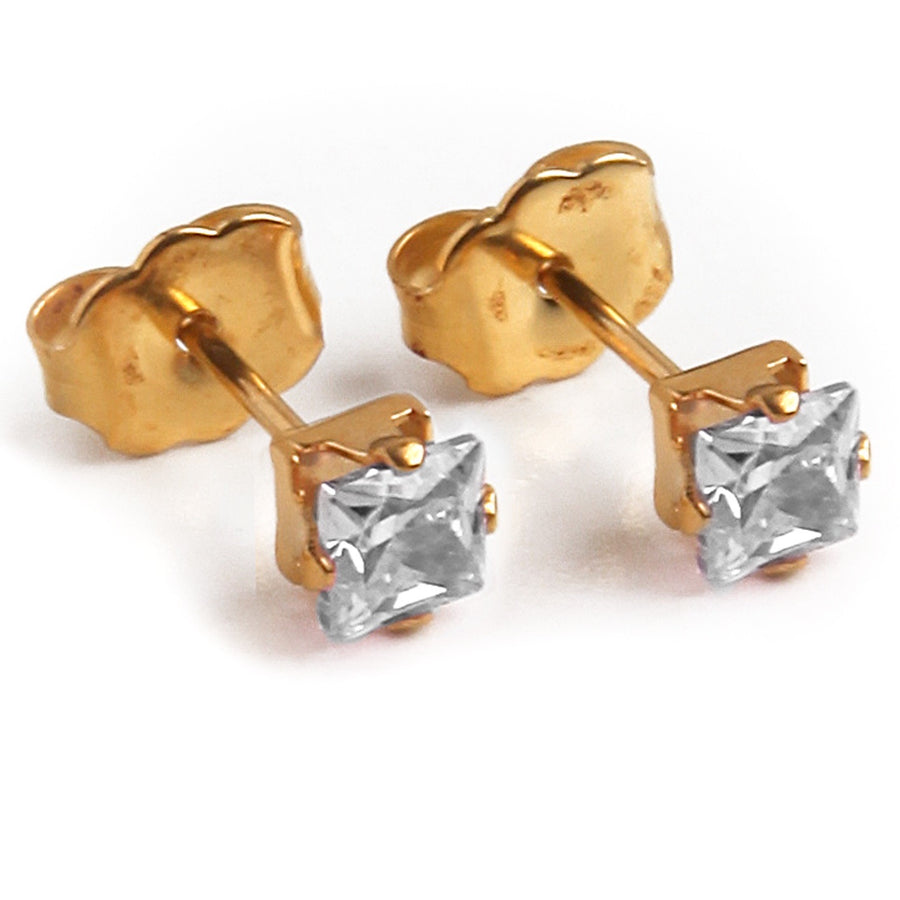 Cubic Zirconia Earrings | Clear Square Heart and Rectangle | 22k Gold Plated Stainless Steel Posts | 3 Pairs