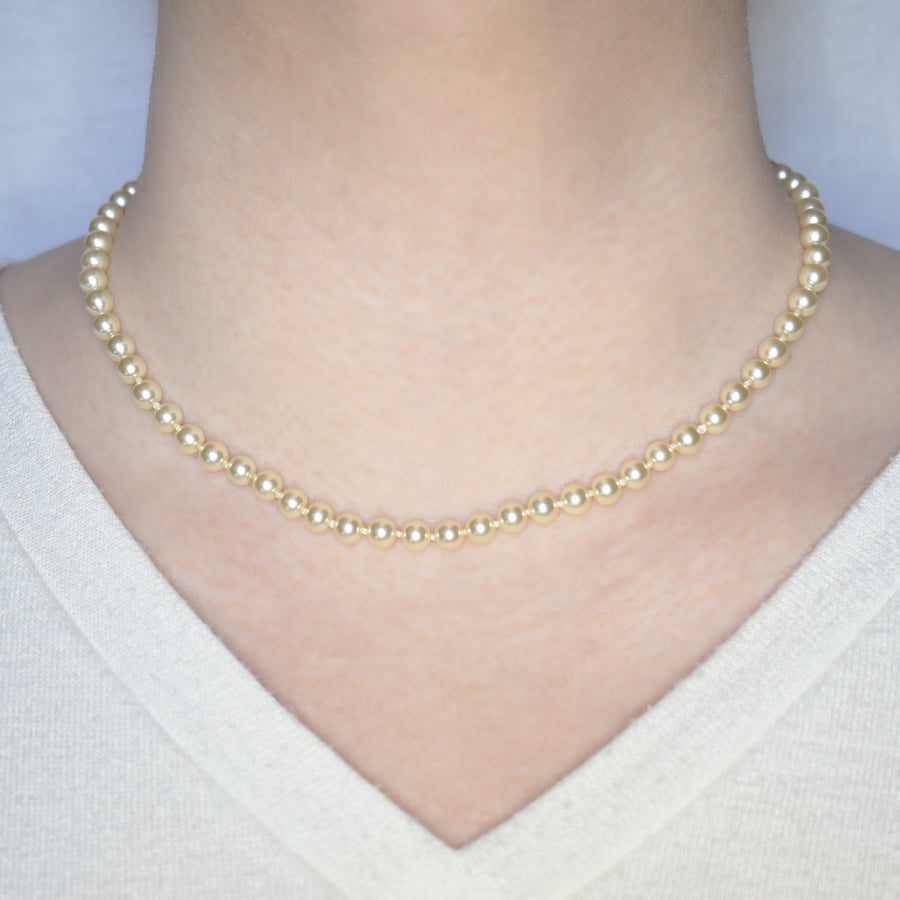 Mallorca Pearl Necklace | Single Strand | 6mm extra small off-white pearls | 1 piece