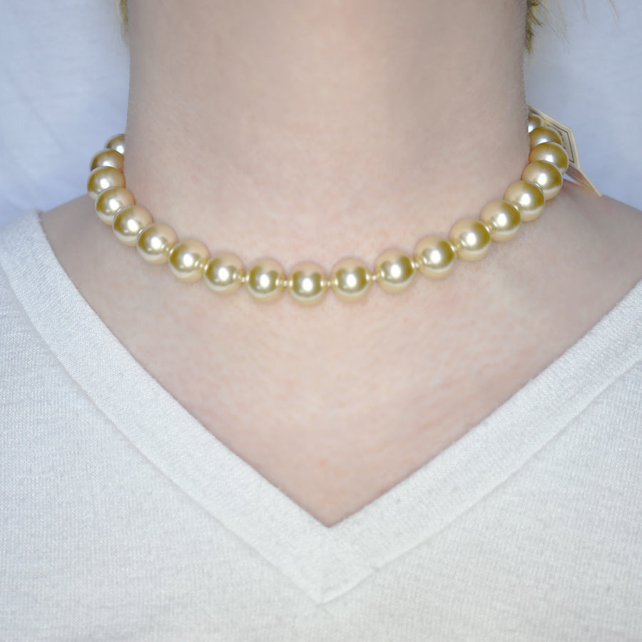 Mallorca Pearl Necklace | Single Strand | 12mm Medium champagne pearls | 1 piece
