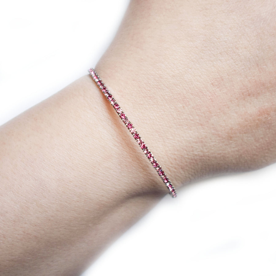 Bangle Bracelet | Rose Peach and Light Rose Pink Austrian Crystals | Rhodium Plated