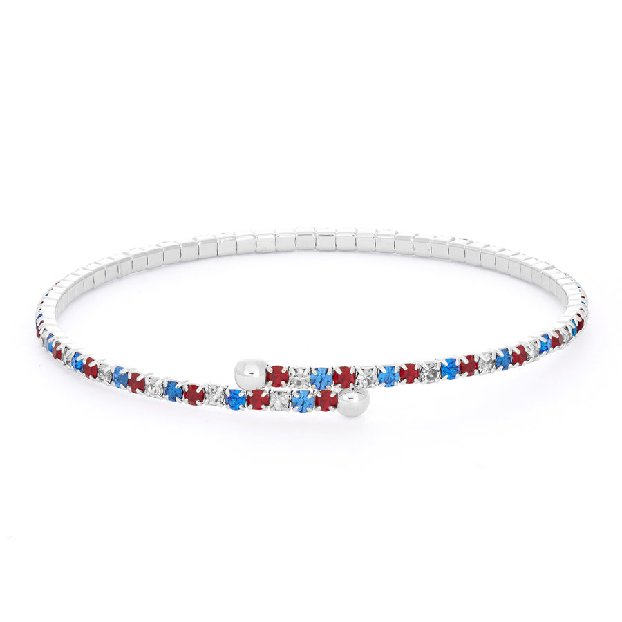 Bangle Bracelet | Red White and Blue Austrian Crystals | Rhodium Plated