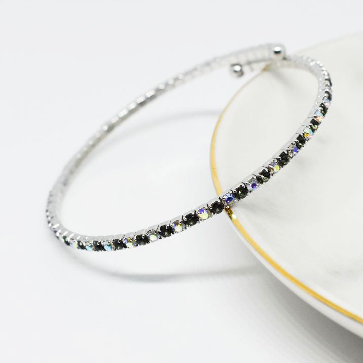Bangle Bracelet | Topaz and Aurora Borealis Austrian Crystals | Rhodium Plated