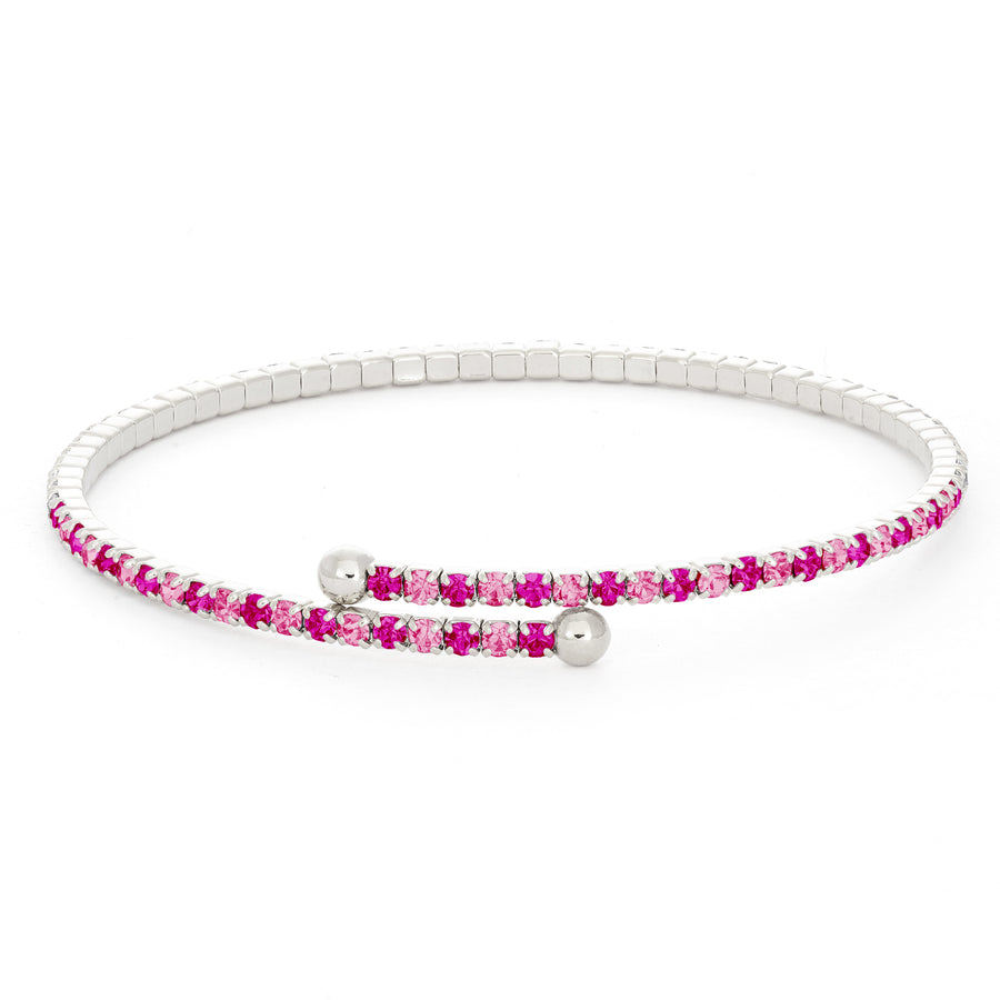 Bangle Bracelet | Fuchsia and Rose Pink Austrian Crystals | Rhodium Plated