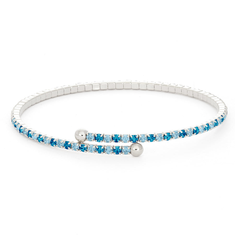 Bangle Bracelet | Blue Zircon and Lapis Austrian Crystals | Rhodium Plated