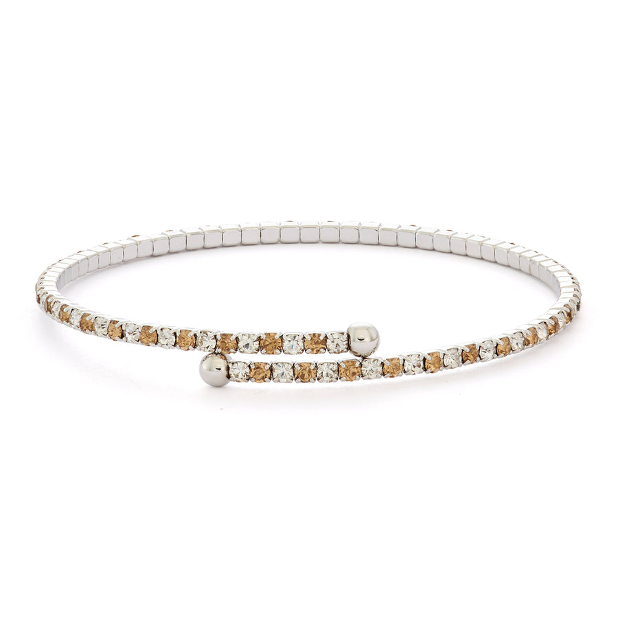Bangle Bracelet | Light Topaz and Clear Austrian Crystals | Rhodium Plated