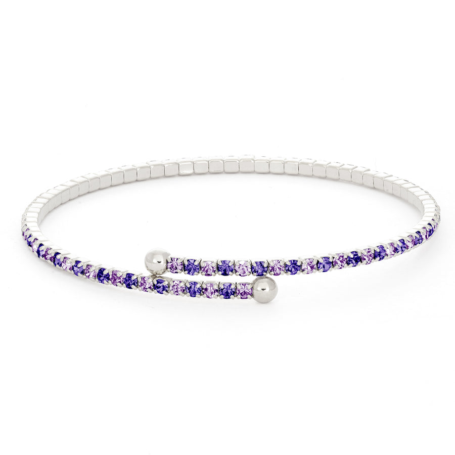 Bangle Bracelet | Tanzanite and Violet Austrian Crystals | Rhodium Plated