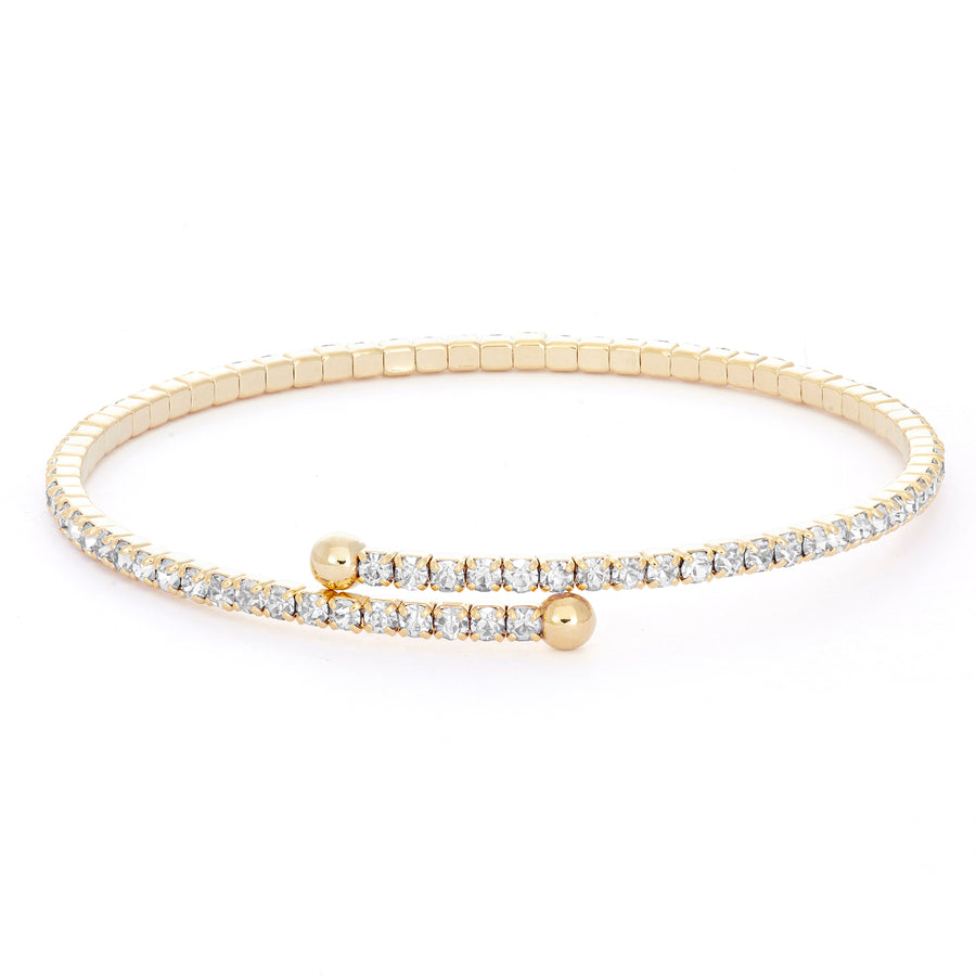 Bangle Bracelet | Clear Austrian Crystals | 14k Gold Plated