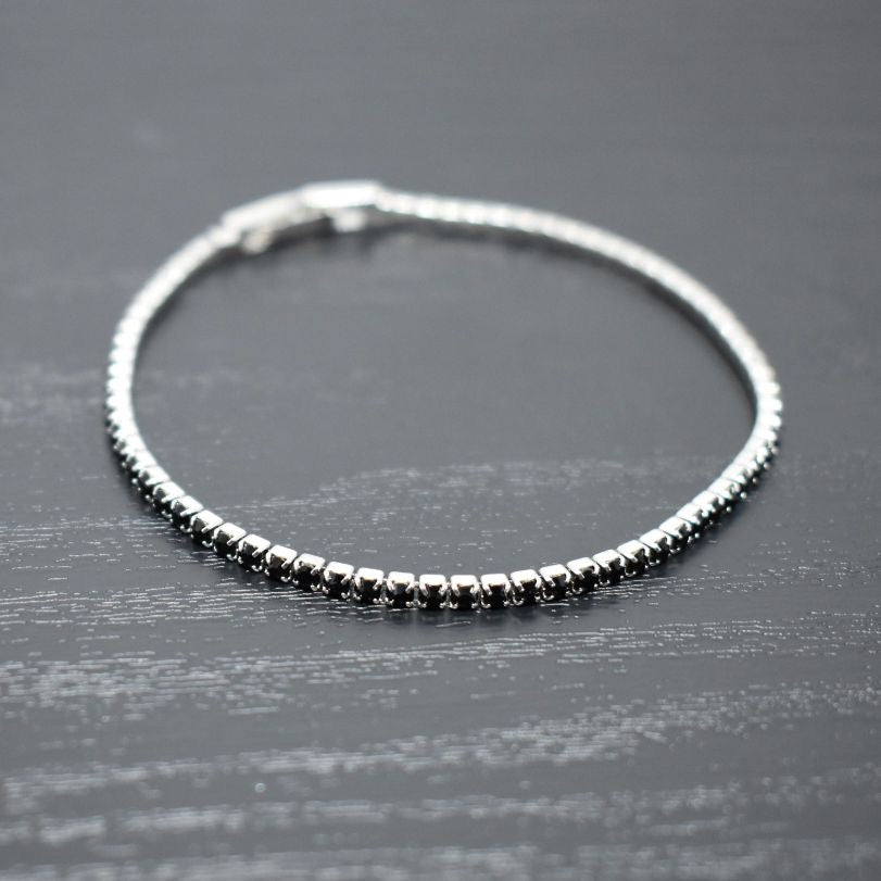 Tennis Bracelet | Black Diamond Austrian Crystals | Rhodium Plated