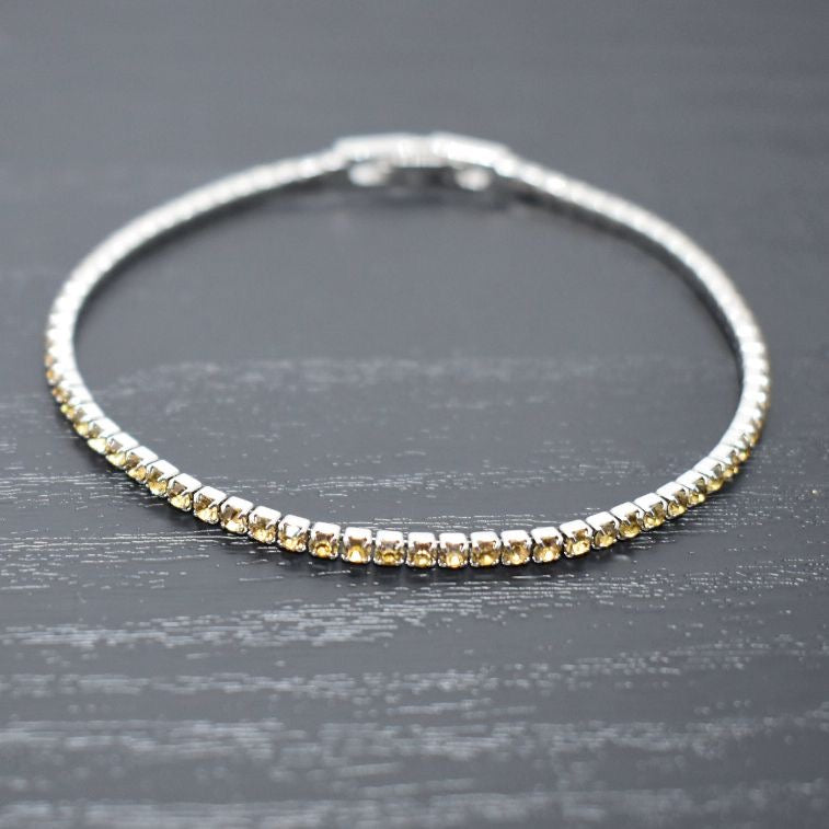 Tennis Bracelet | Light Topaz Austrian Crystals | Rhodium Plated