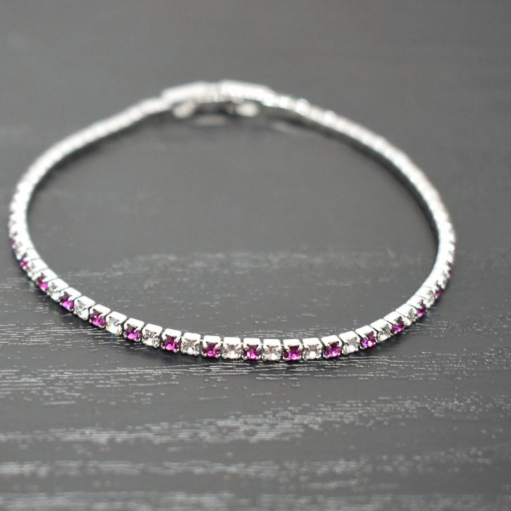 Tennis Bracelet | Clear and Fuchsia Austrian Crystals | Rhodium Plated
