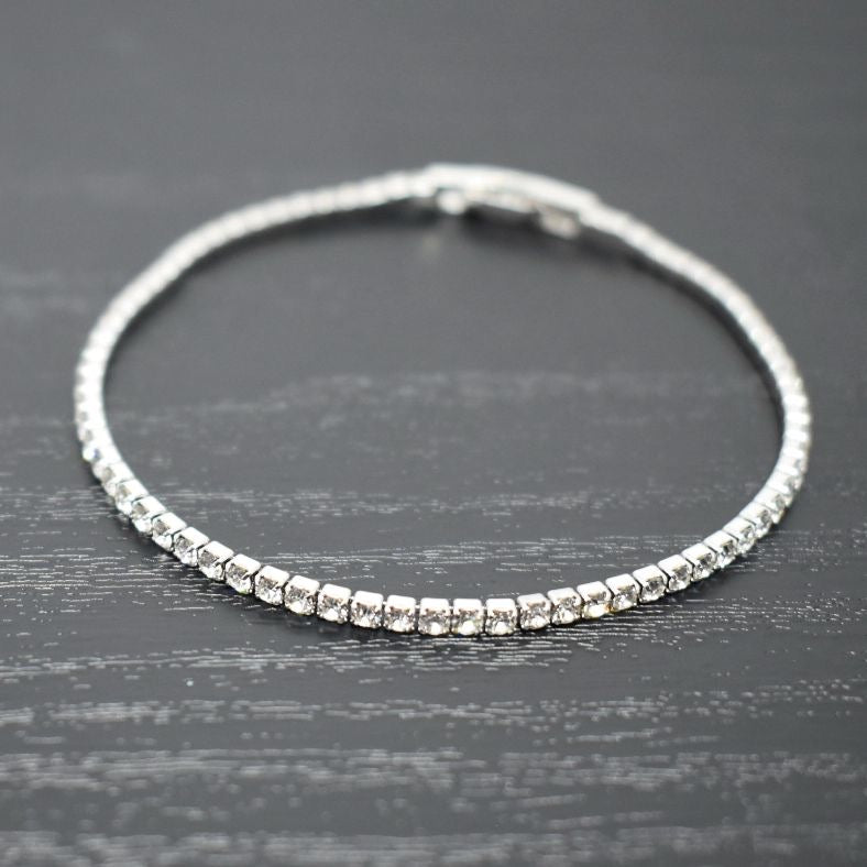 Tennis Bracelet | Clear Austrian Crystals | Rhodium Plated | 1 Piece