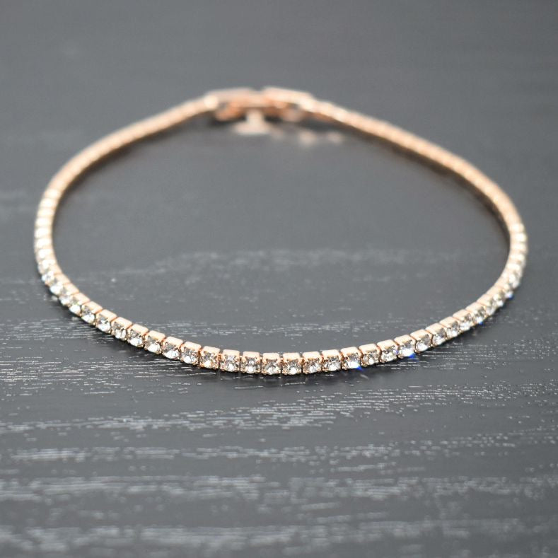 Tennis Bracelet | Clear Austrian Crystals | 14k Rose Gold Plated
