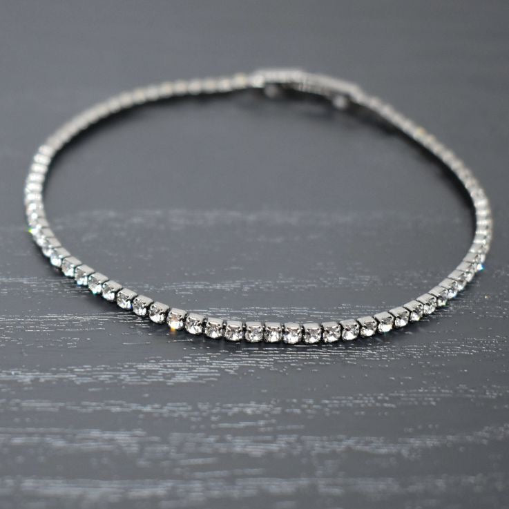 Tennis Bracelet | Clear Austrian Crystals | Black Rhodium Plated | 1 Piece
