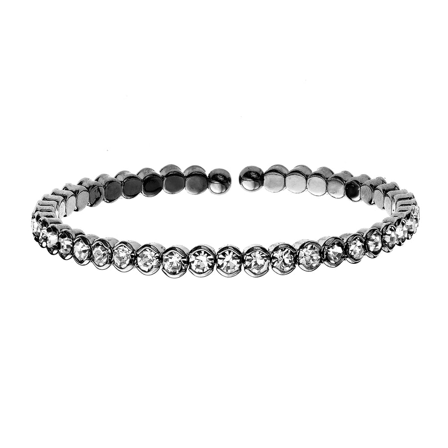 Bangle Bracelet | Clear Austrian Crystals | Black Rhodium Plated