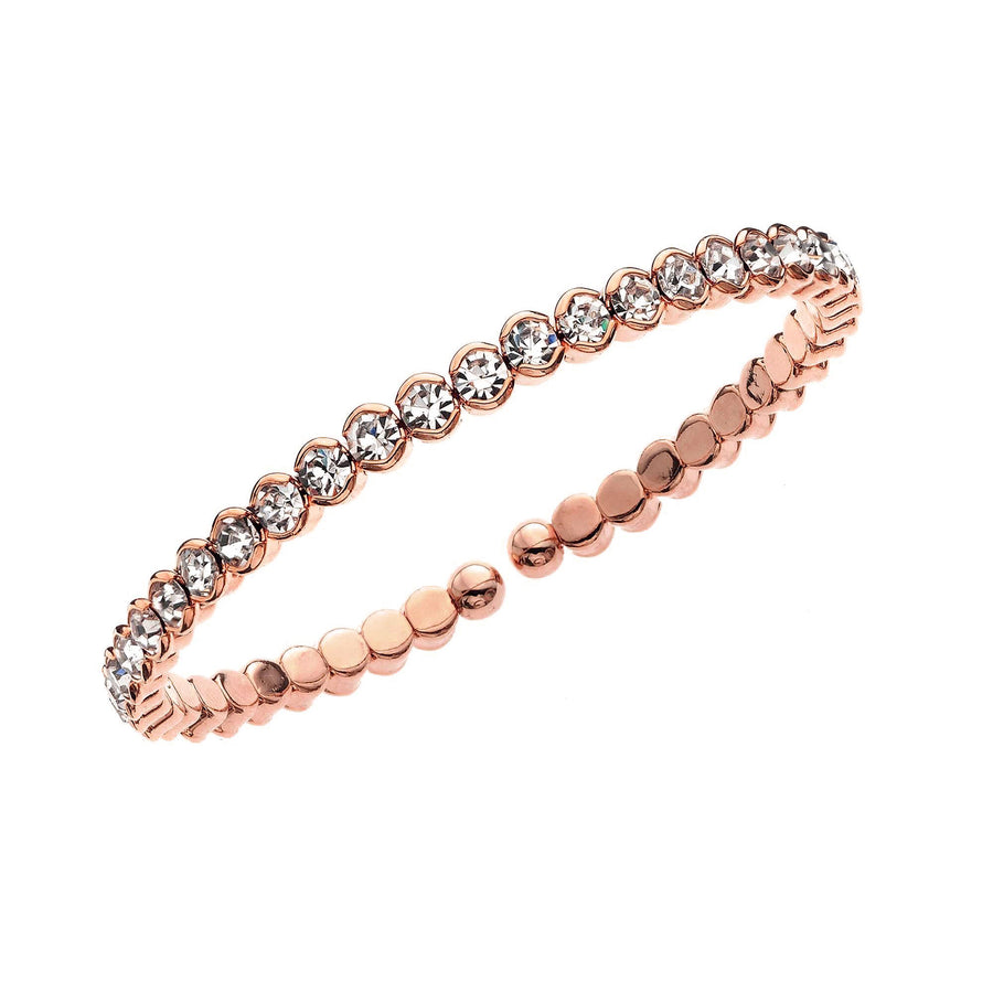 Bangle Bracelet | Clear Austrian Crystals | 14k Rose Gold Plated