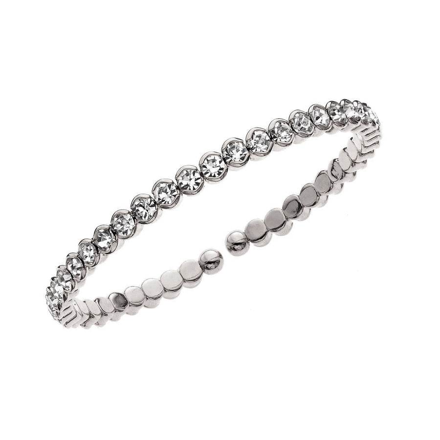 Bangle Bracelet | Clear Austrian Crystals | Rhodium Plated