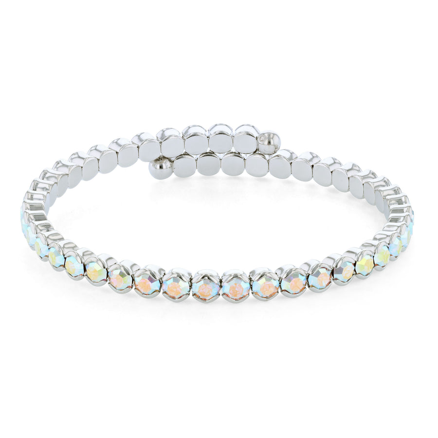 Bangle Bracelet | Aurora Borealis Austrian Crystals | Rhodium Plated