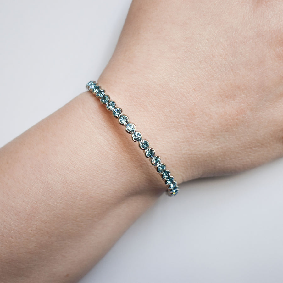 Bangle Bracelet | Aquamarine Austrian Crystals | Rhodium Plated