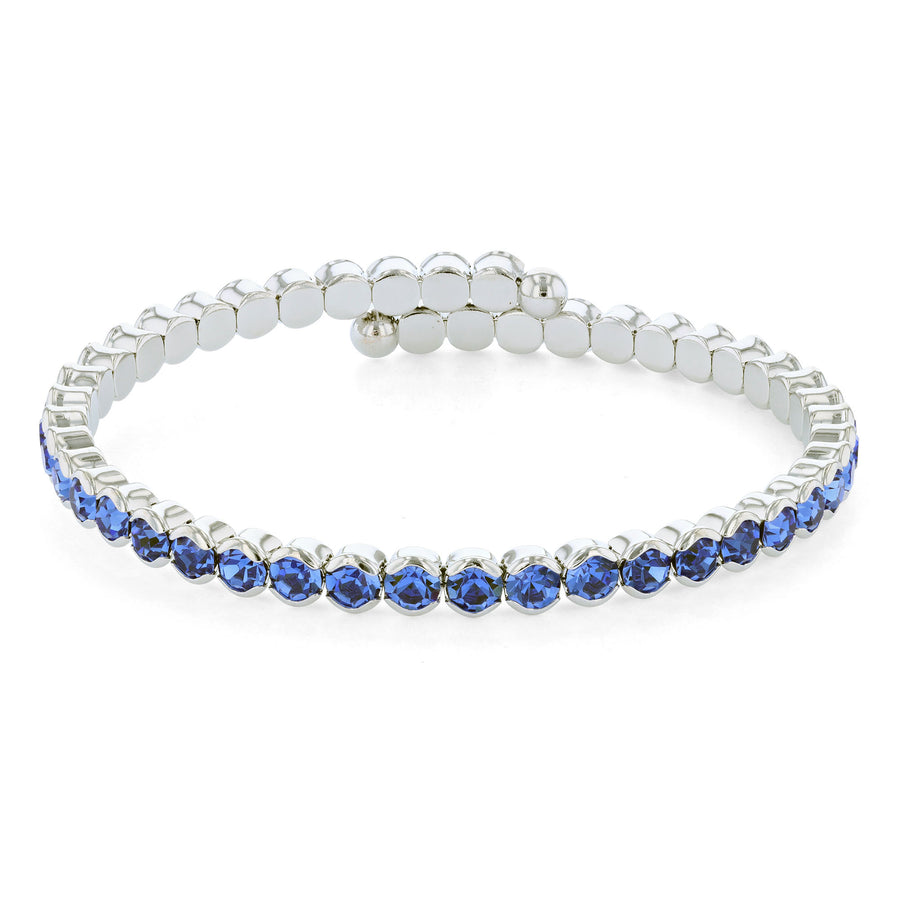 Bangle Bracelet | Sapphire Austrian Crystals | Rhodium Plated