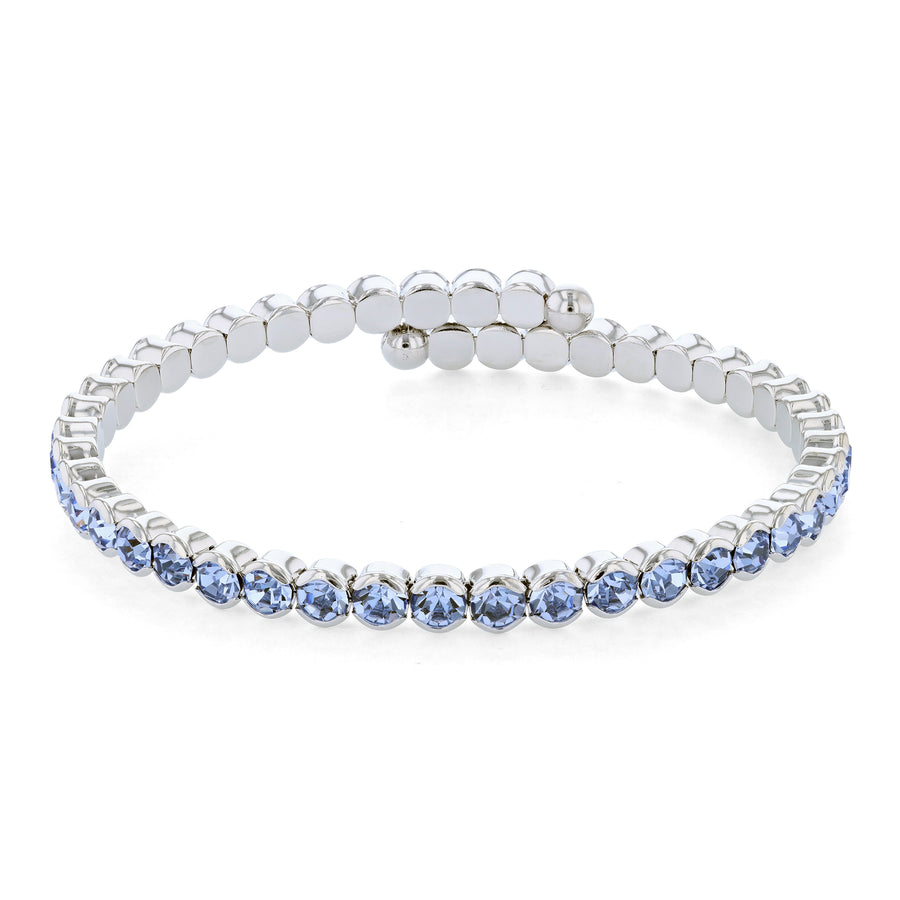 Bangle Bracelet | Light Sapphire Austrian Crystals | Rhodium Plated