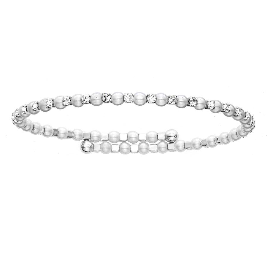 Bangle Bracelet | Clear Austrian Crystals with Alternating Pearl Beads | Rhodium Plated