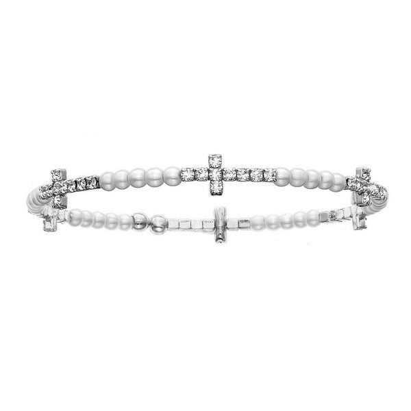 Bangle Bracelet | Clear Austrian Crystals in Cross Shape with Pearl Beads | Rhodium Plated