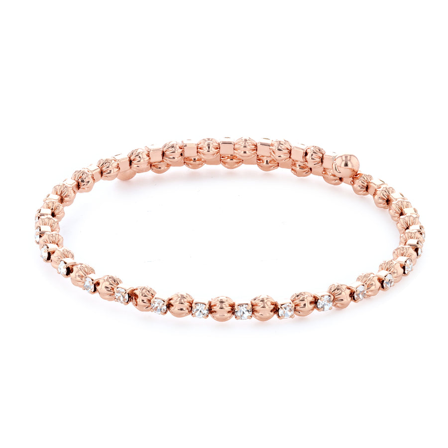Bangle Bracelet | Clear Austrian Crystals with Textured Beads | 14k Rose Gold Plated