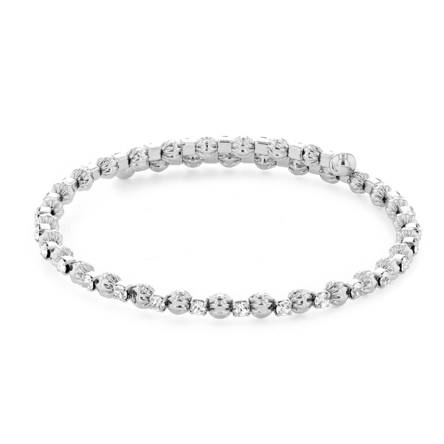 Bangle Bracelet | Clear Austrian Crystals with Textured Beads | Rhodium Plated