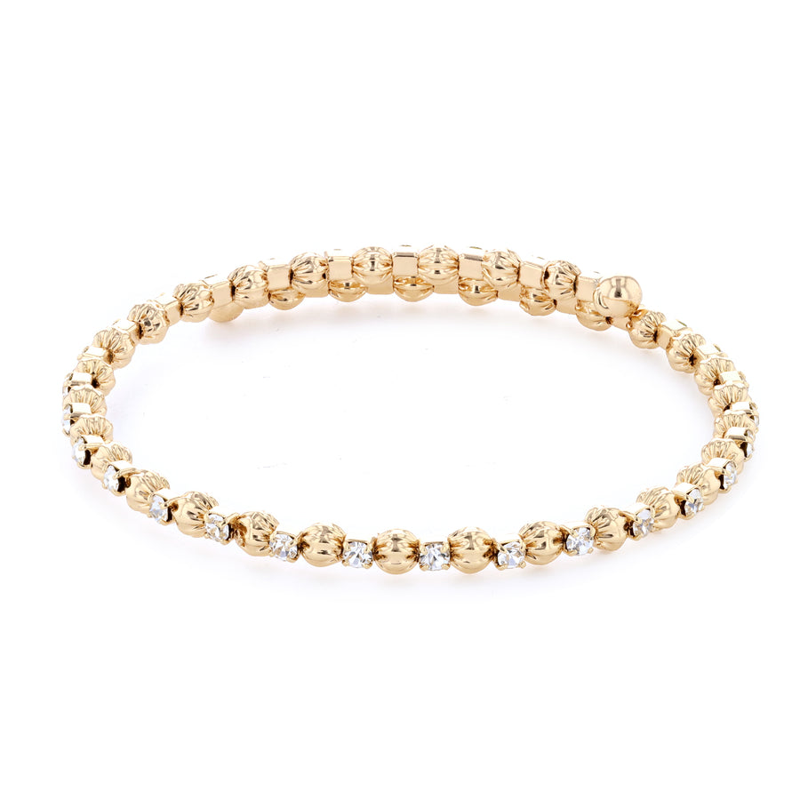Bangle Bracelet | Clear Austrian Crystals with Textured Beads | 14k Gold Plated
