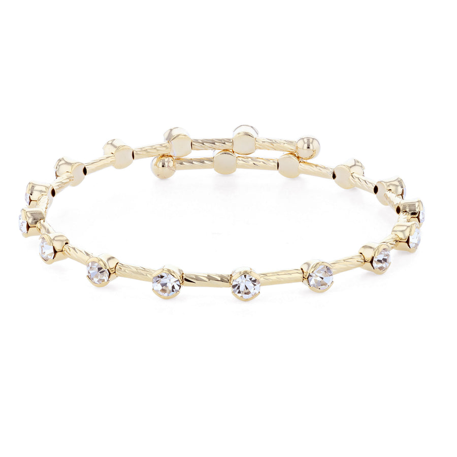 Bangle Bracelet | Clear Austrian Crystals on Twist Bangle | 14k Gold Plated