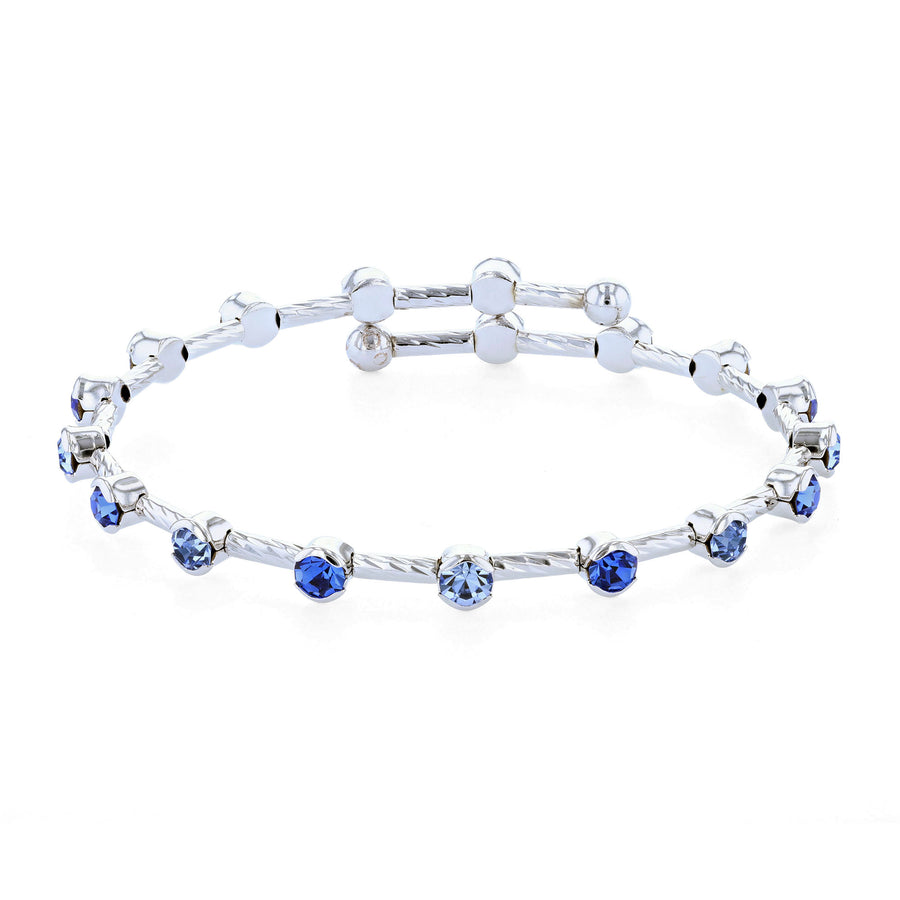 Bangle Bracelet | Light and Dark Sapphire Austrian Crystals on Twist Bangle | Rhodium Plated