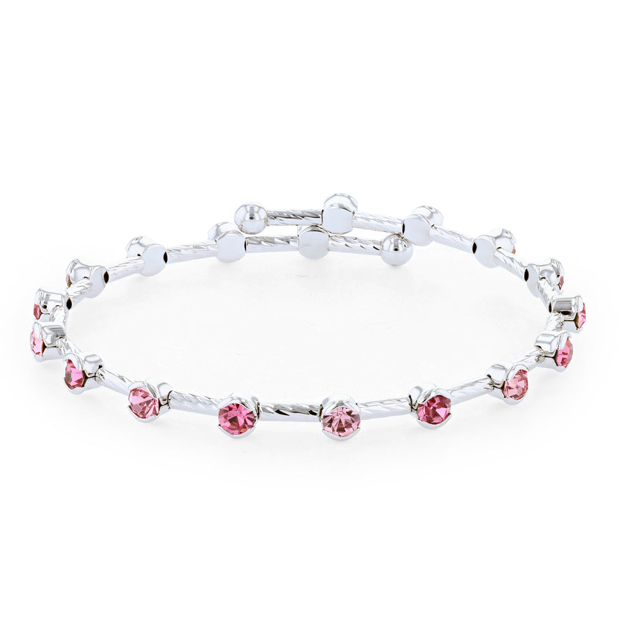 Bangle Bracelet | Light and Dark Rose Pink Austrian Crystals on Twist Bangle | Rhodium Plated