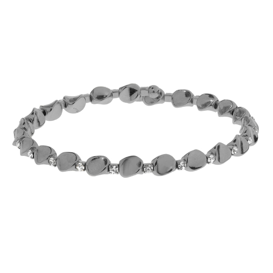 Bangle Bracelet | Clear Austrian Crystals with Large Beads | Black Rhodium Plated