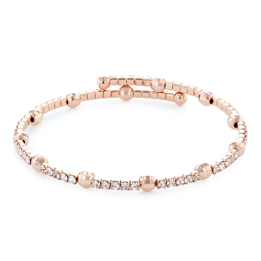 Bangle Bracelet | Clear Austrian Crystals with Disco Ball Beads | 14k Rose Gold Plated