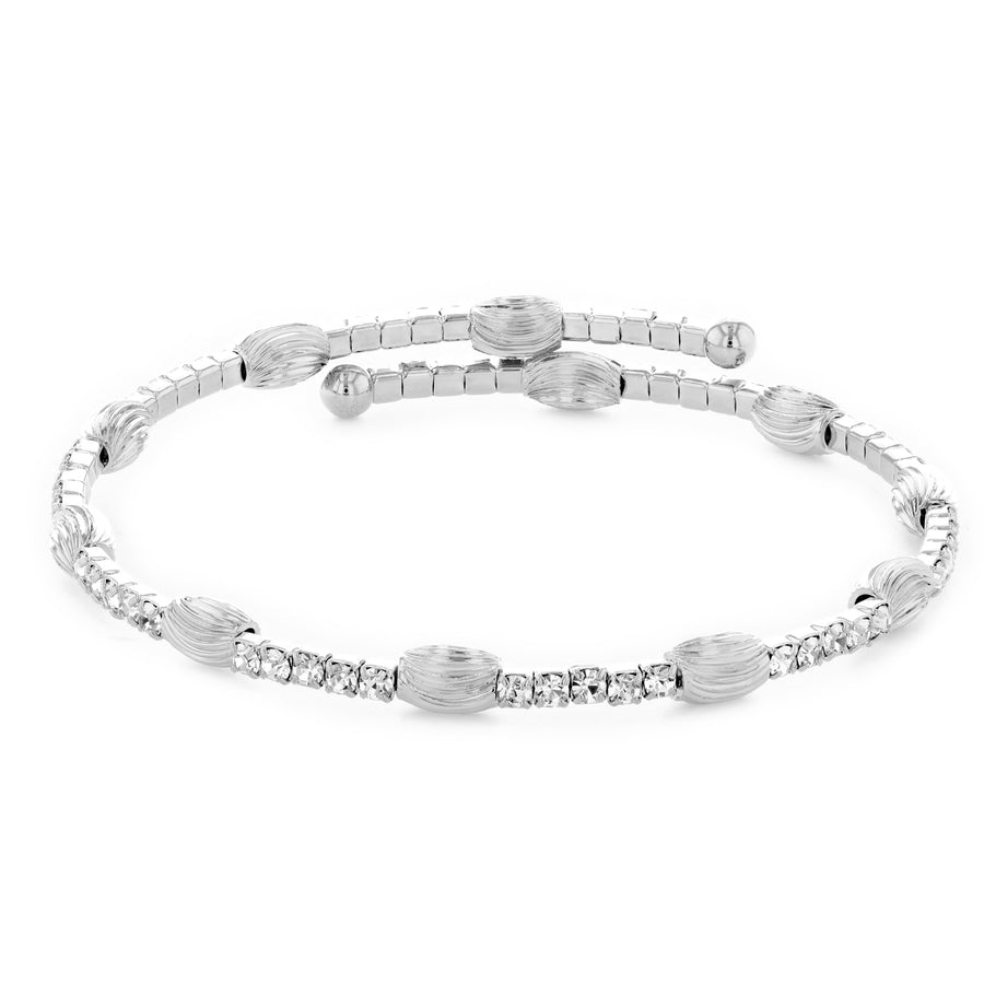 Bangle Bracelet | Clear Austrian Crystals with Oblong Textured Beads | Rhodium Plated