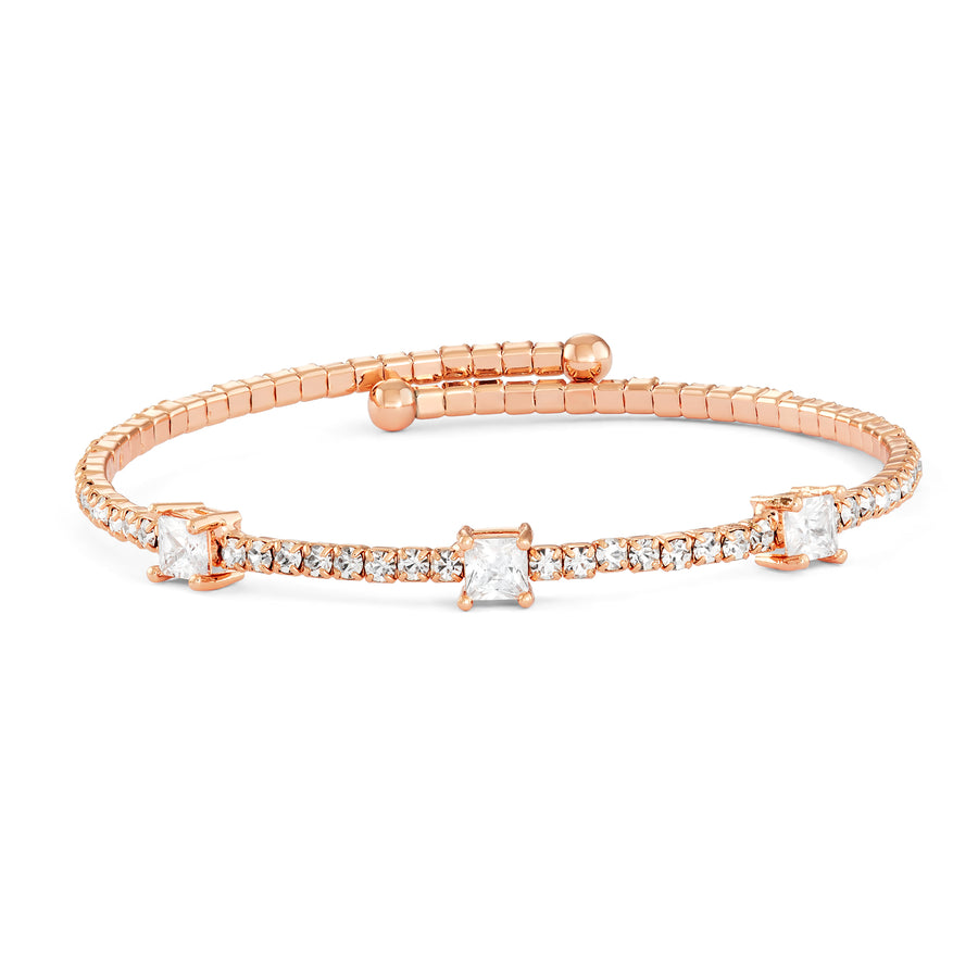 Bangle Bracelet | Clear Large and Small Austrian Crystals | 14k Rose Gold Plated