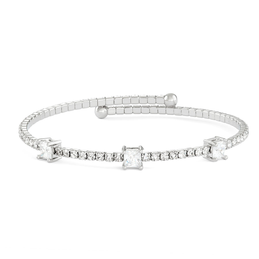 Bangle Bracelet | Clear Large and Small Austrian Crystals | Rhodium Plated