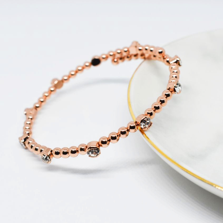 Bangle Bracelet | Clear Austrian Crystals with Beads | 14k Rose Gold Plated