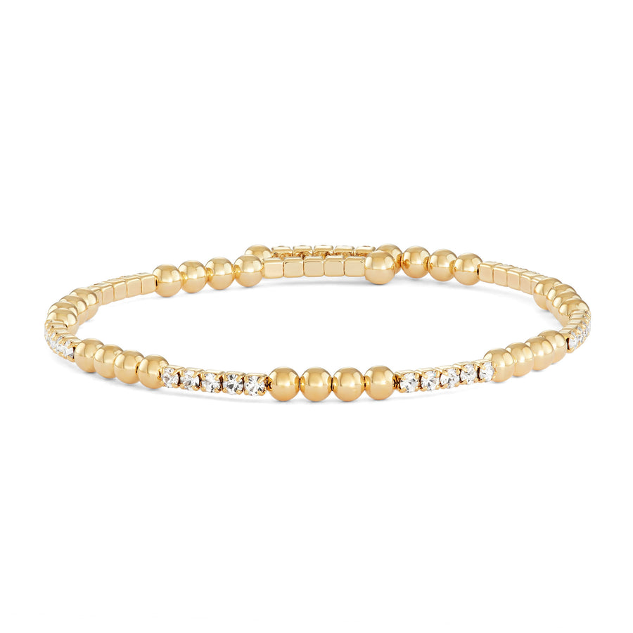 Bangle Bracelet | Clear Austrian Crystals with Segmented Beads | 14k Gold Plated
