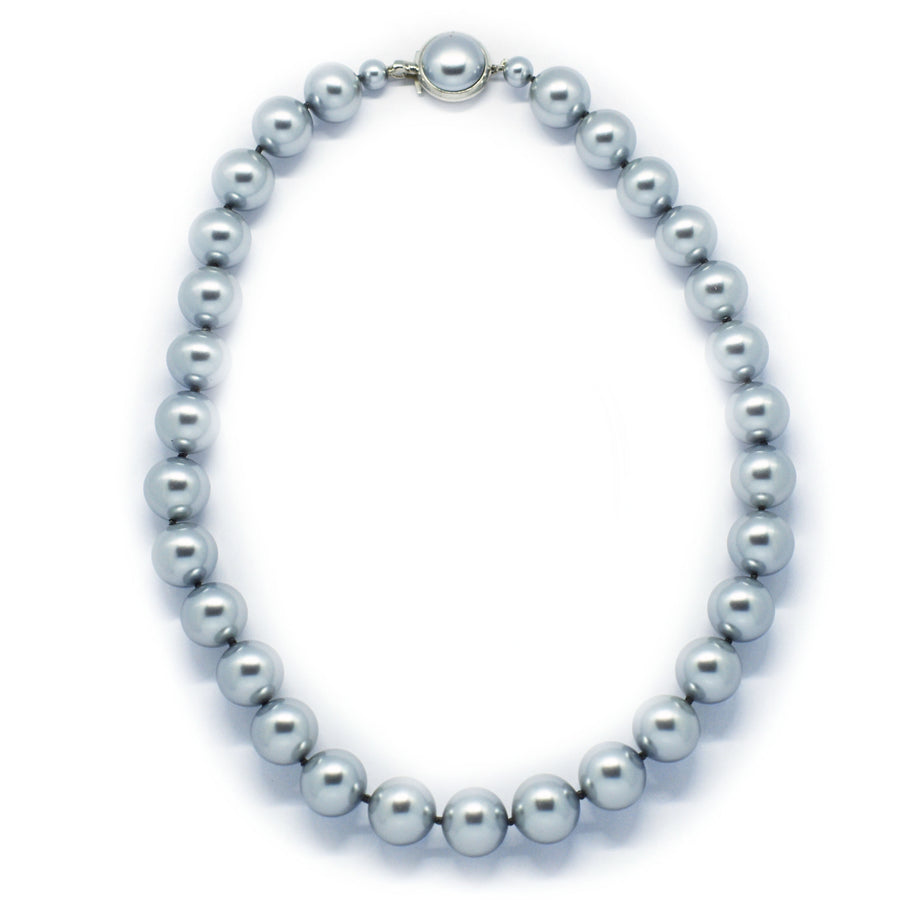 Mallorca Pearl Necklace | Single Strand | 12mm Medium Blue Gray Pearls | 1 piece