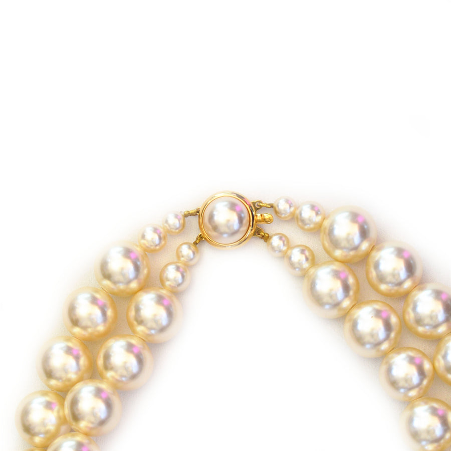 Mallorca Pearl Necklace | 2 Strand | 14mm Large off-white pearls | 1 piece