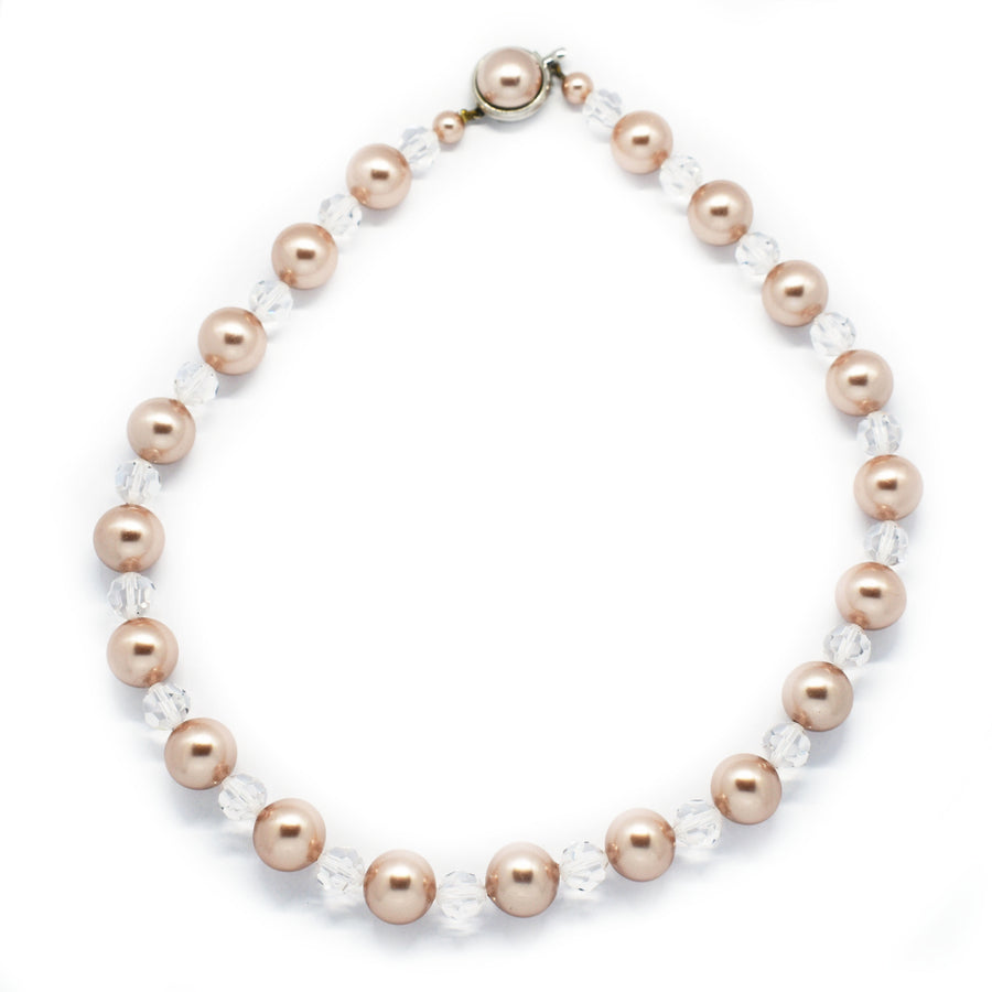 Mallorca Pearl Necklace |Single Strand | 12mm Medium Pink Pearls with Clear Crystals | 1 piece